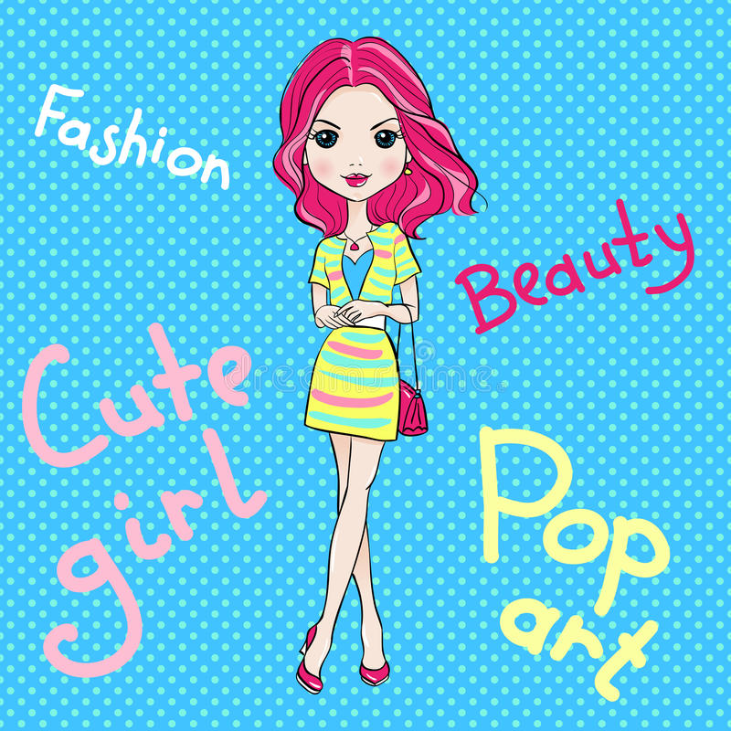 Pop Art cute fashion girl royalty free stock photos