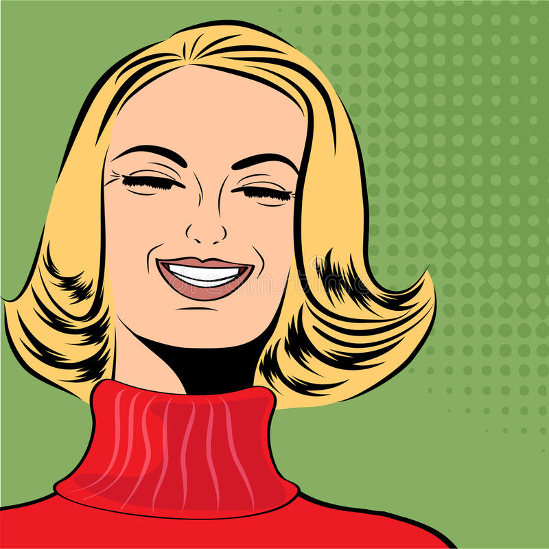 Pop art cute retro woman in comics style laughing. Vector illustration vector illustration