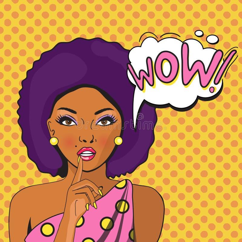 Pop art da bolha do wow de Negress ilustração do vetor