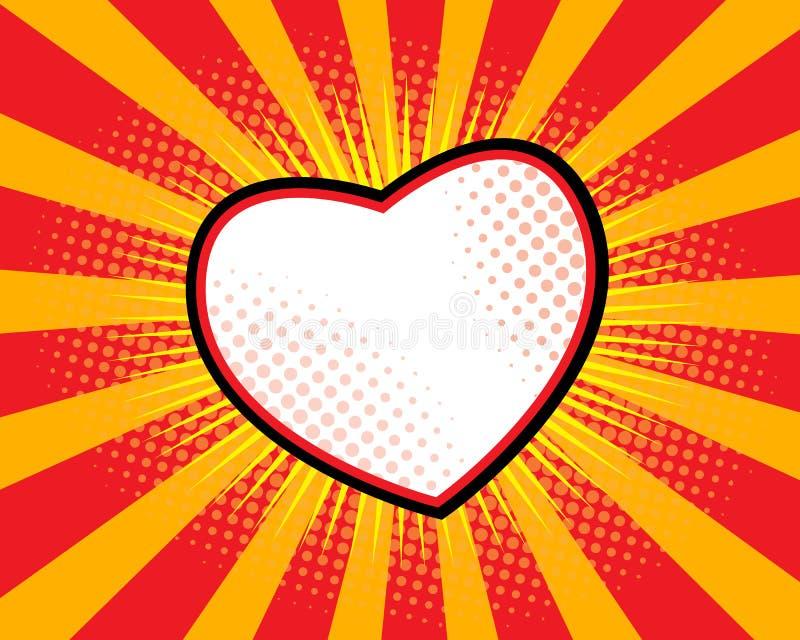 Pop art da forma do coração ilustração royalty free
