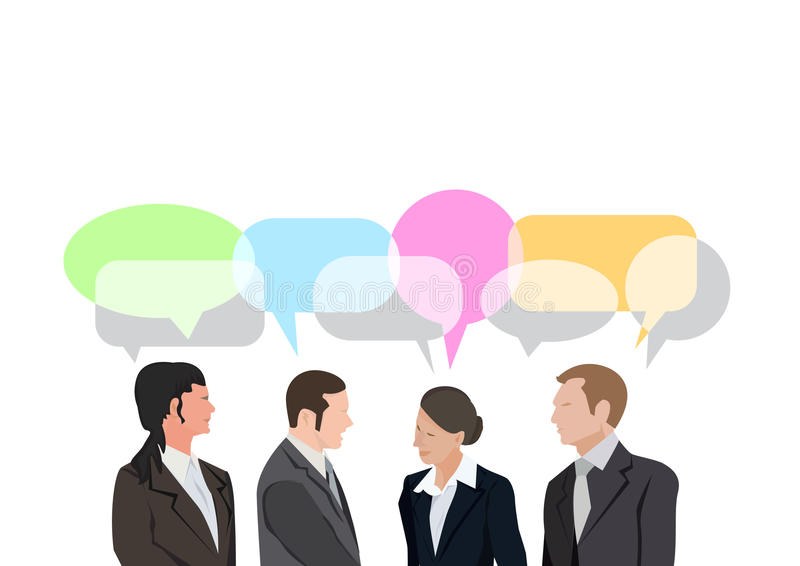 Pop art de uma comunicação da conversação do diálogo de quatro homens de negócios retro ilustração do vetor