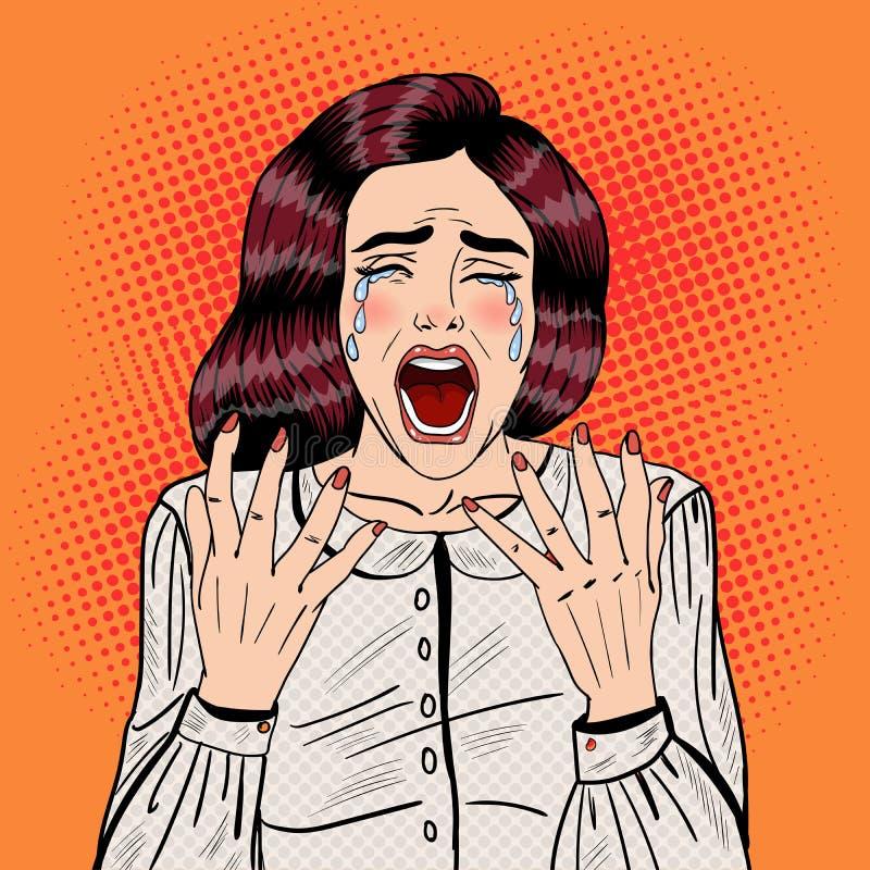 Pop Art Depressed Crying Woman Screaming royaltyfri illustrationer