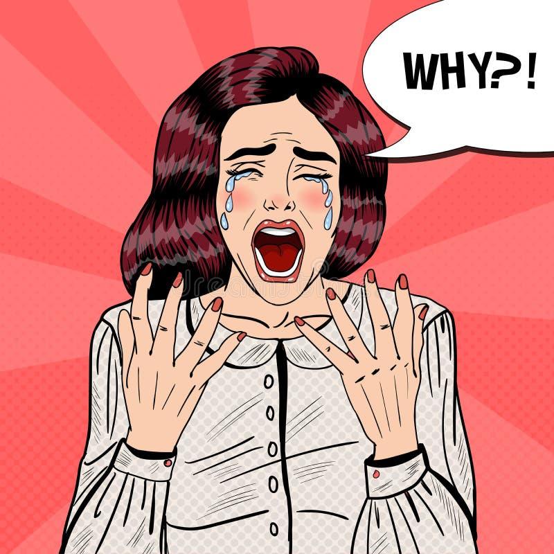Pop Art Depressed Crying Woman Screaming därför royaltyfri illustrationer