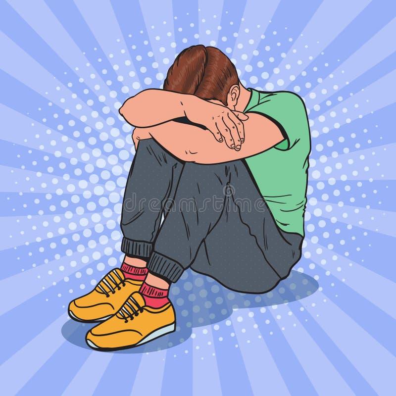 Pop Art Depressed Young Man Sitting på golvet med händer på huvudet Fördjupning och frustration vektor illustrationer