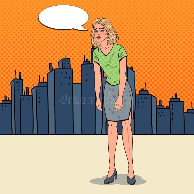 Pop Art Depressed Young Woman i staden Förvirrad besviken flicka Roligt vända mot Negativ sinnesrörelse royaltyfri illustrationer