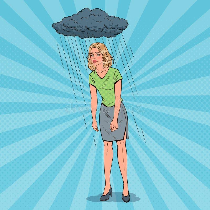Pop Art Depressed Young Woman Under de Regen Verward Teleurgesteld Meisje Grappig gezicht Negatieve emotie stock illustratie