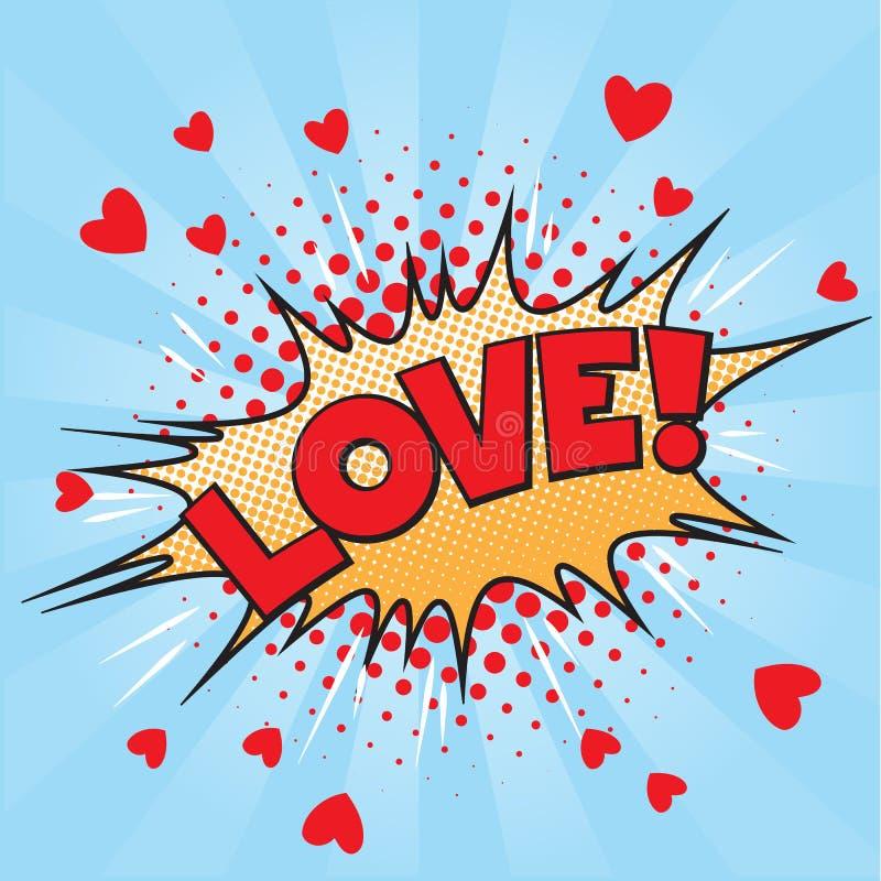 Pop art do amor ilustração royalty free