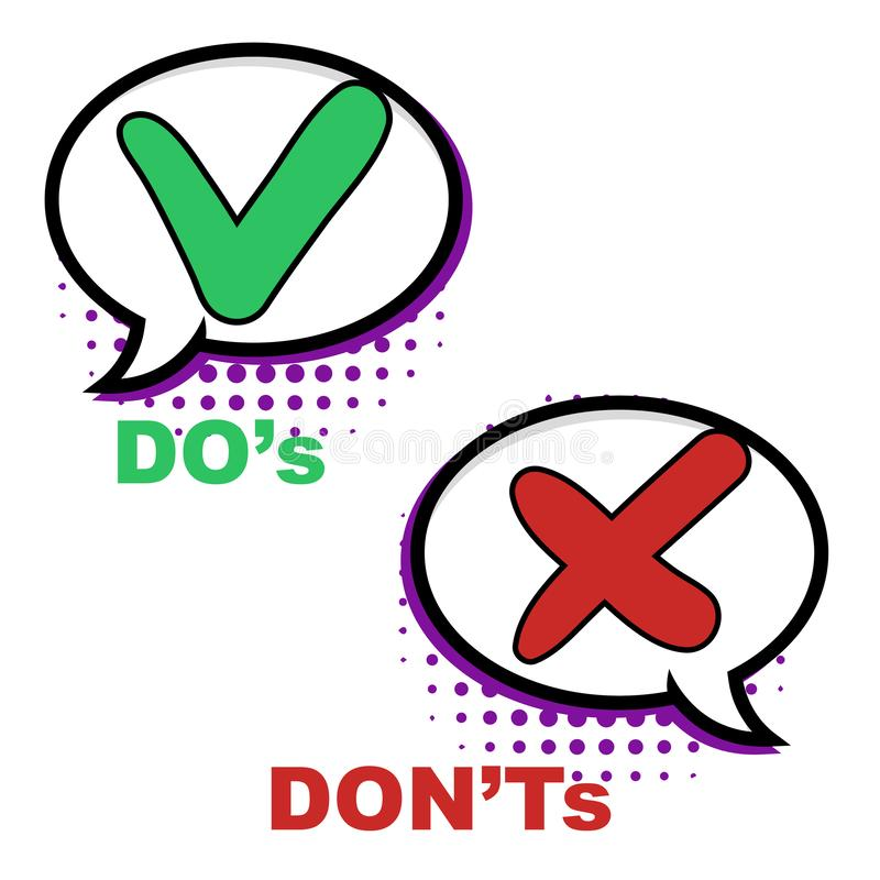 Pop-art Do and Dont comic sign. Ok check mark, No dialogue cloud box and red cross comics signs vector illustration bubble vector illustration