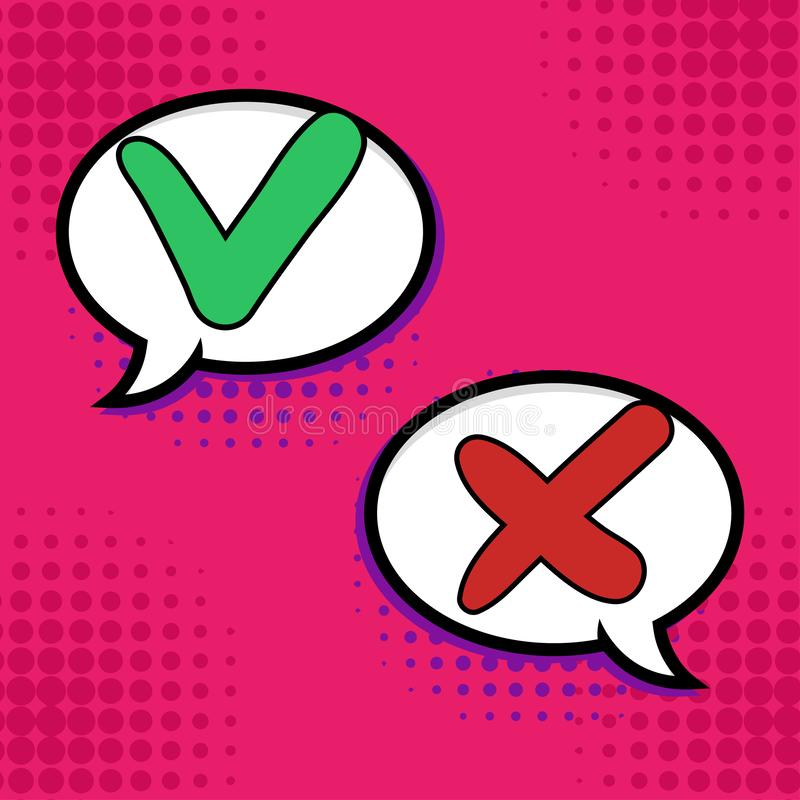 Pop-art Do and Dont comic sign. Ok check mark, No dialogue cloud box and red cross comics signs vector illustration bubbles vector illustration