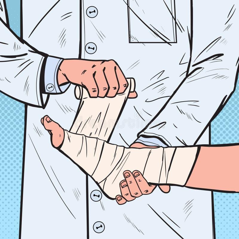 Pop Art Doctor Bandaging Patient Leg in het Ziekenhuis Medische behandeling Arts Bandaging Man Ankle royalty-vrije illustratie