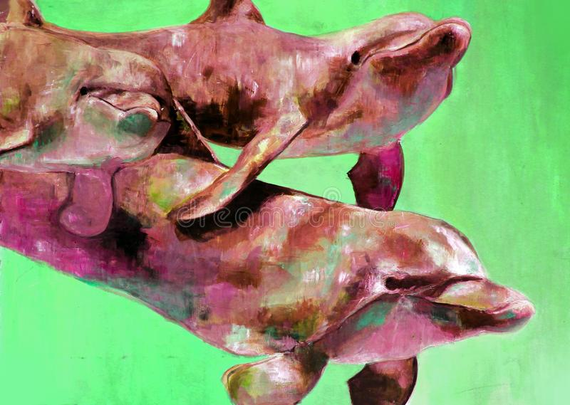 Pop art dolphins. royalty free stock image
