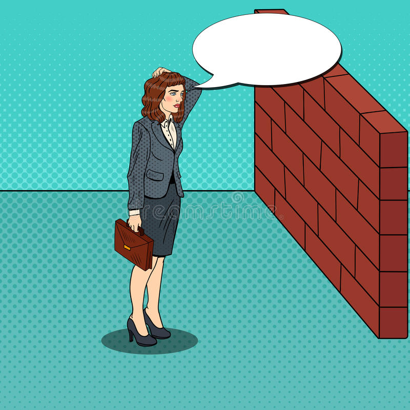 Download Pop Art Doubtful Business Woman Standing In Front Of A Brick Wall Stock Vector - Image: 83719991