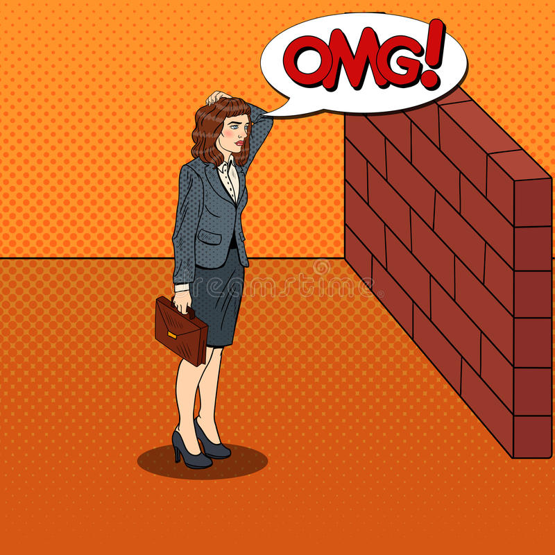 Download Pop Art Doubtful Business Woman Standing In Front Of A Brick Wall Stock Vector - Image: 83720175