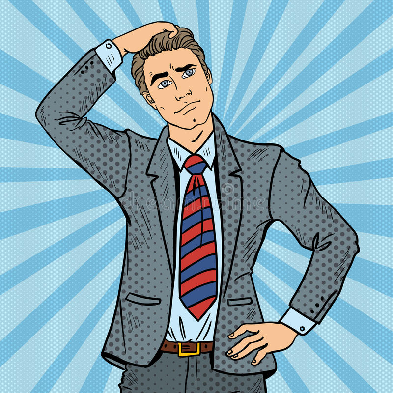 Pop Art Doubtful Businessman Making Decision royalty-vrije illustratie
