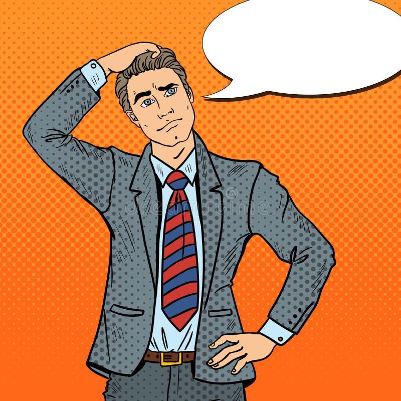 Pop Art Doubtful Businessman Making Decision stock illustratie