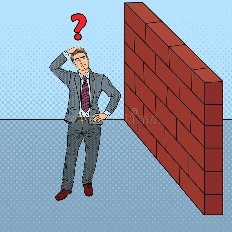 Download Pop Art Doubtful Businessman Standing In Front Of A Brick Wall Stock Vector - Image: 83719138
