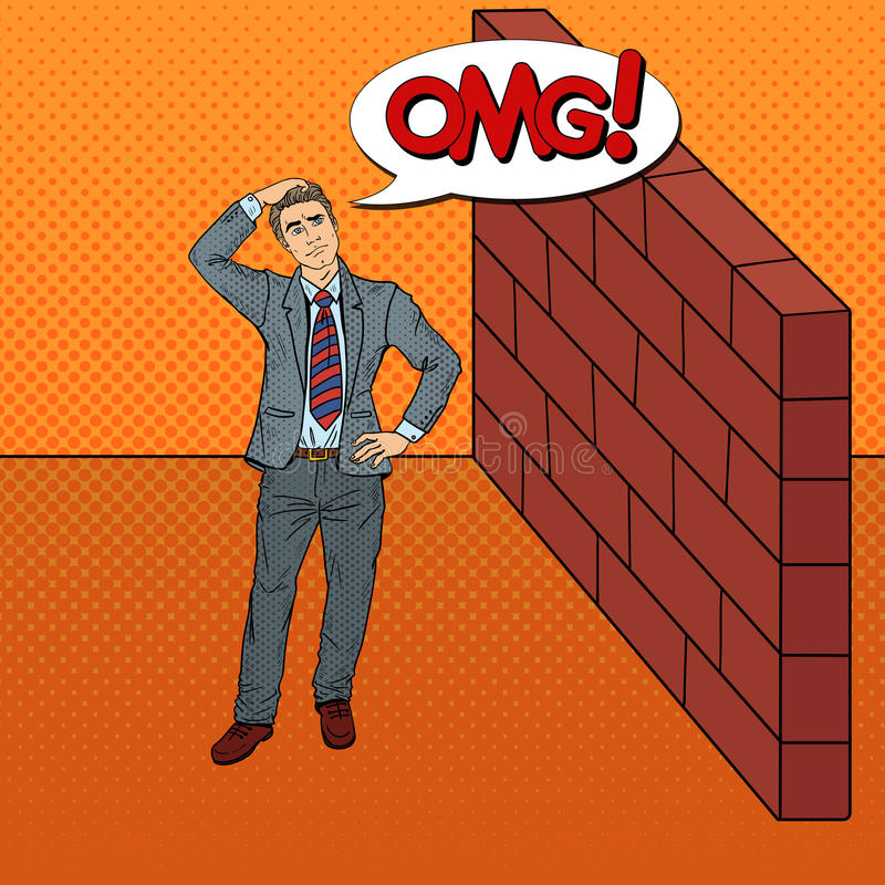 Download Pop Art Doubtful Businessman Standing In Front Of A Brick Wall Stock Vector - Image: 83719329