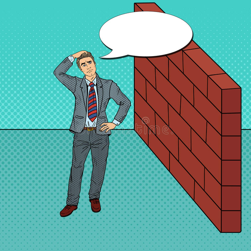 Download Pop Art Doubtful Businessman Standing In Front Of A Brick Wall Stock Vector - Image: 83720042