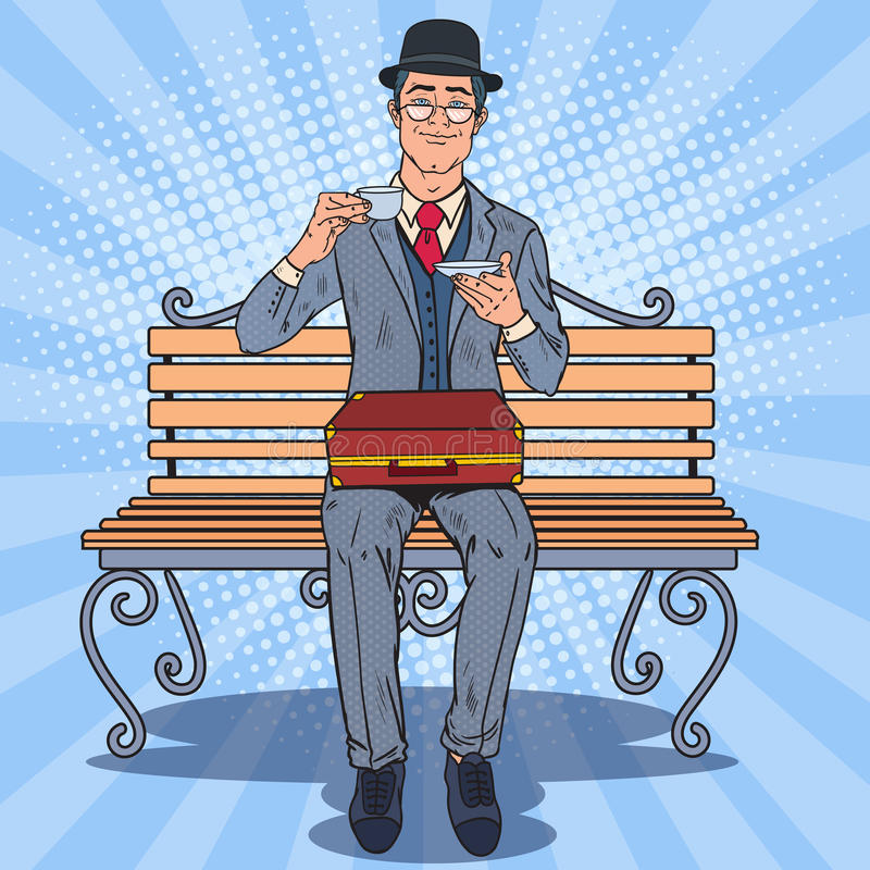Download Pop Art Englishman Drinking Tea On The Bench In The Park. Coffee  Break Stock