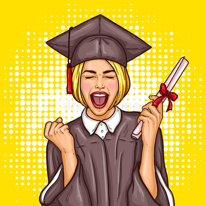 Free Pop Art Excited Girl Graduate Student In A Graduation Cap And Mantle With A University Diploma In Her Hand Stock Image - 88874001