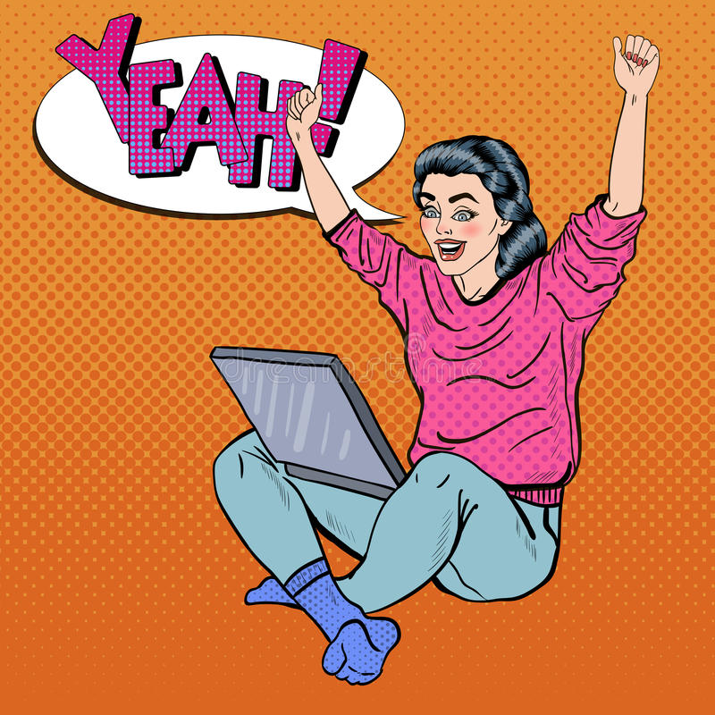Pop Art Excited Young Woman with Laptop and Hands Up. Vector illustration stock illustration