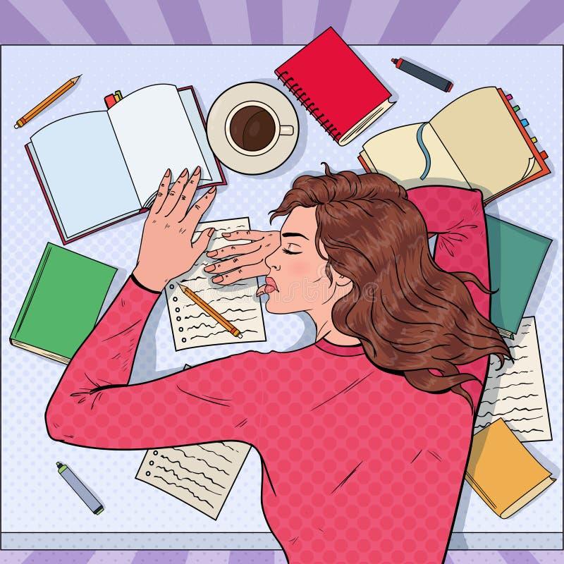Pop Art Exhausted Female Student Sleeping på skrivbordet med läroböcker Trött kvinna som förbereder sig för examen royaltyfri illustrationer