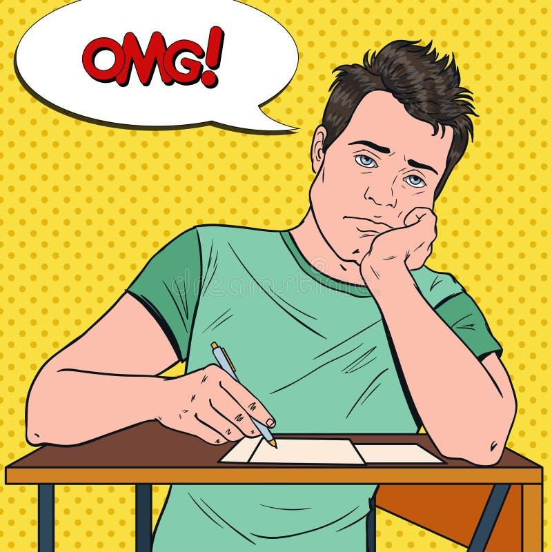 Pop Art Exhausted Male Student Sitting på skrivbordet under tråkig universitetföreläsning Trött stilig man i högskola stock illustrationer