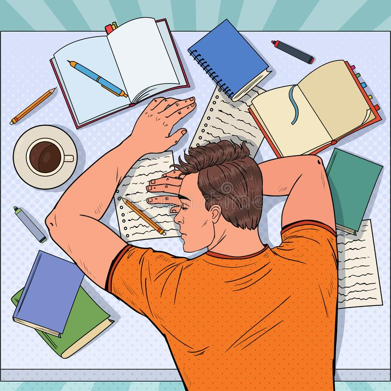 Pop Art Exhausted Male Student Sleeping on the Desk with Textbooks. Tired Man Preparing for Exam stock photo