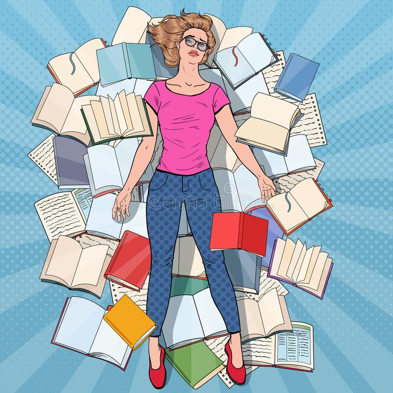 Pop Art Exhausted Student Lying on the Floor among Books. Overworked Young Woman Preparing for Exams. Education. Concept. Vector illustration royalty free illustration