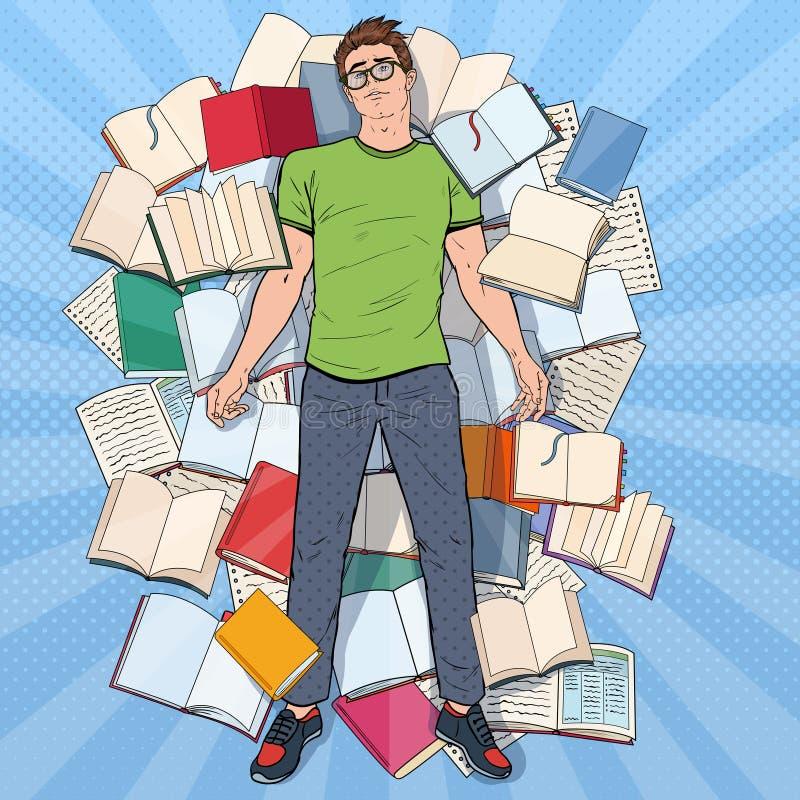 Pop Art Exhausted Student Lying på golvet bland böcker Överansträngd ung man som förbereder sig för examina Utbildning vektor illustrationer