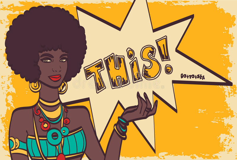 THIS, pop art face. Wonderful african woman with speech bubble. Vector colorful background in pop art retro comic vector illustration