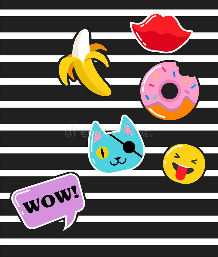 Pop art fashion chic patches, pins, badges and stickers. Pop art fashion chic patches, pins, badges, cartoons and stickers royalty free illustration