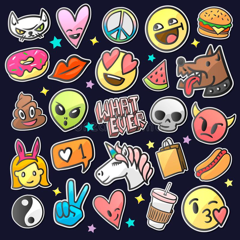 Pop art fashion chic patches, pins, badges and stickers, vector. Pop art fashion chic patches, pins, badges and stickers, vector illustration stock illustration