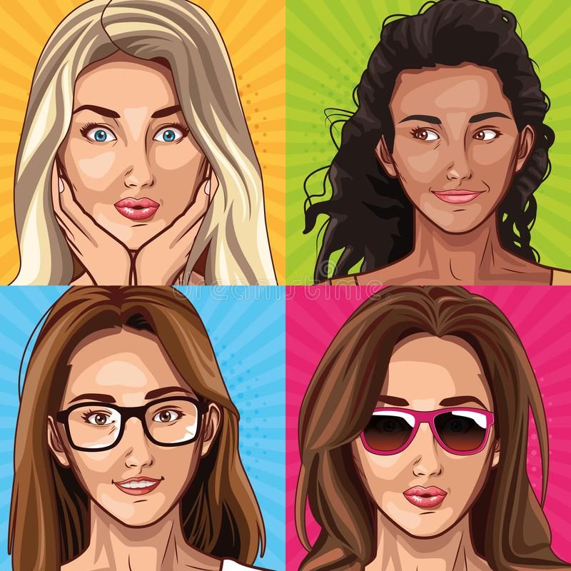 Pop art fashion models women cartoons. Pop art fashion models women faces cartoons on colorful frames background ,vector illustration vector illustration
