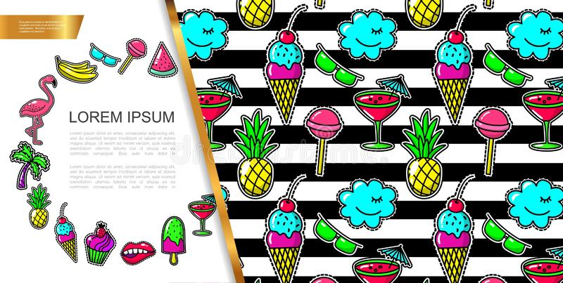 Pop Art Fashion Patches Composition. With flamingo bananas eyeglasses lollipop watermelon palm tree ice cream mouth cake cocktail clouds pineapple vector stock illustration
