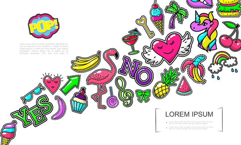 Pop Art Fashion Patches Concept. With ice cream flamingo cake heart bananas pineapple bow watermelon rainbow cocktail palm burger unicorn cherry lollipop vector stock illustration