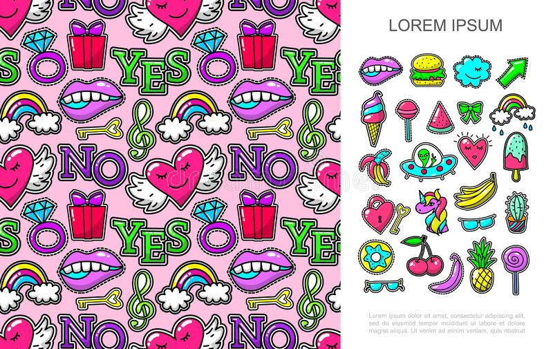 Pop Art Fashion Patches Concept. With bright cartoon stickers and seamless pattern of colorful badges vector illustration royalty free illustration