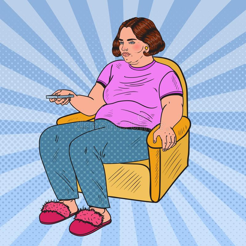 Pop Art Fat Woman Watching-TV met Ver Controlemechanisme Het ongezonde eten stock illustratie