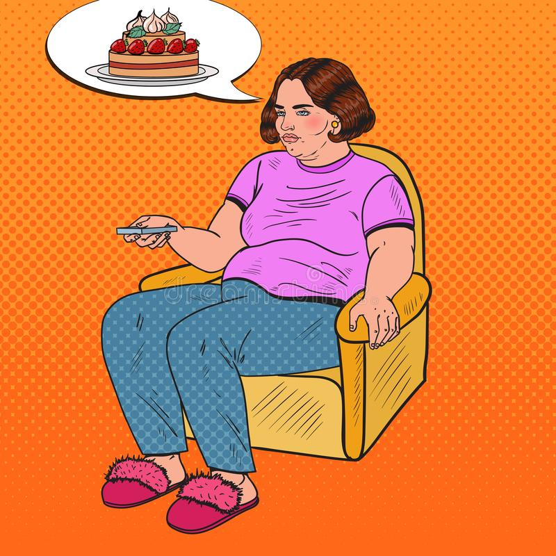Pop Art Fat Woman Watching TV with Remote Controller and Dreaming about Sweet Food. Unhealthy Eating royalty free illustration