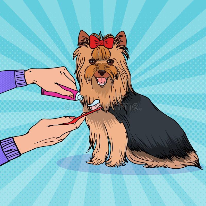 Pop Art Female Hand Holding Toothbrush med tandkräm Borsta tänder Yorkshire Terrier Älsklings- Healt omsorg stock illustrationer