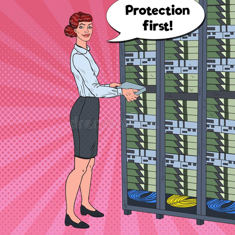 Pop Art Female Network Engineer Working with Hardware Data Center. stock illustration