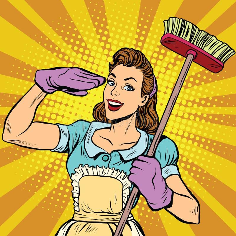 Pop art femminile della società di pulizia del pulitore retro illustrazione di stock