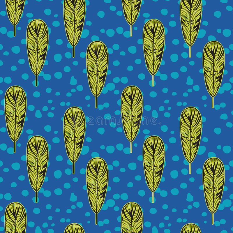 Download Pop Art Fifties Pattern With Feathers, Vector Stock Vector - Illustration of blue, organic: 29310072