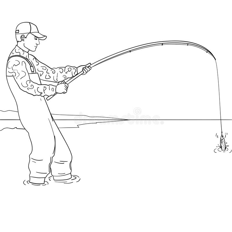 Pop art fisherman standing in water and fighting fish. Pool of a stream. Coloring for children stock illustration