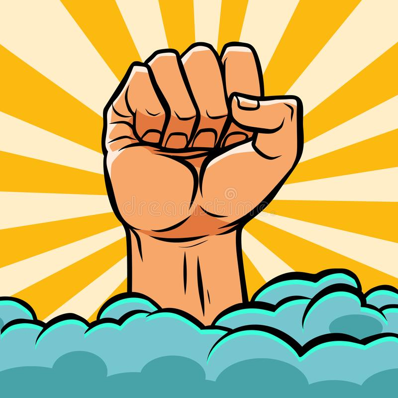 Free Pop Art Fist Above The Clouds Stock Photo - 142792940