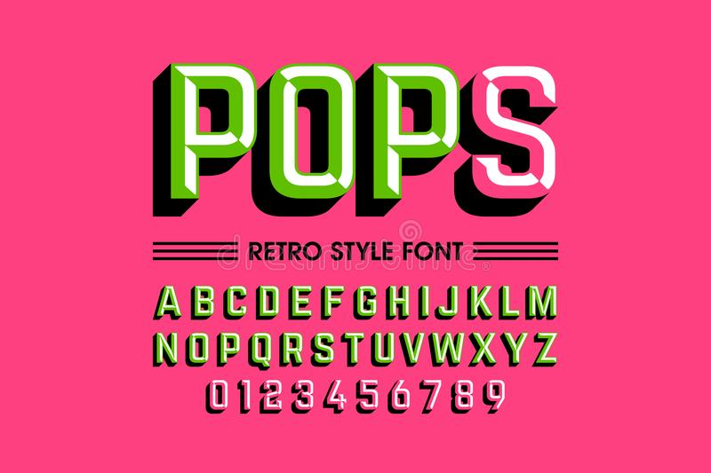 Pop art font. Trendy style pop art font, alphabet letters and numbers royalty free illustration