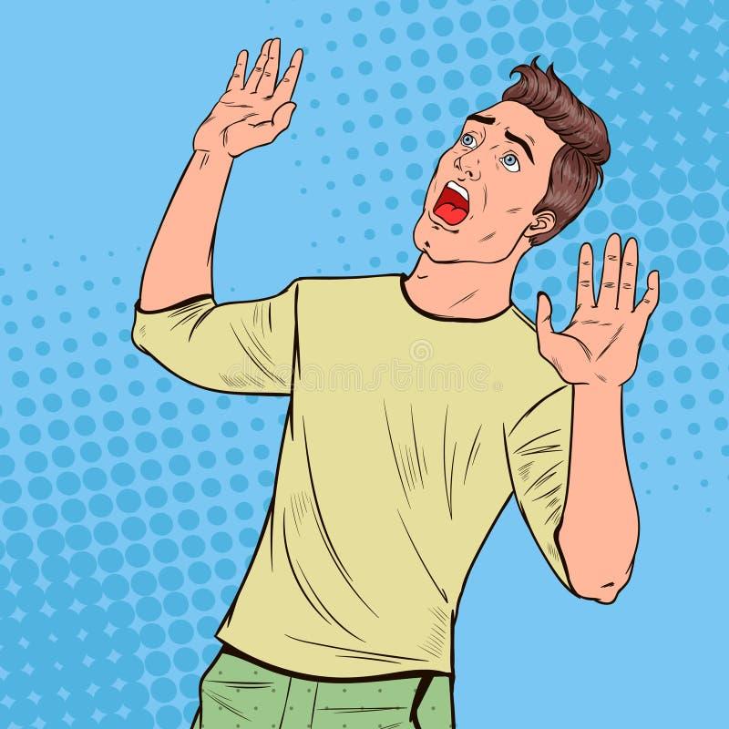 Pop Art Frightened Man. Scared Facial Expression. Shocked Guy Holding Hands Upwards. Negative Emotion. Vector illustration vector illustration