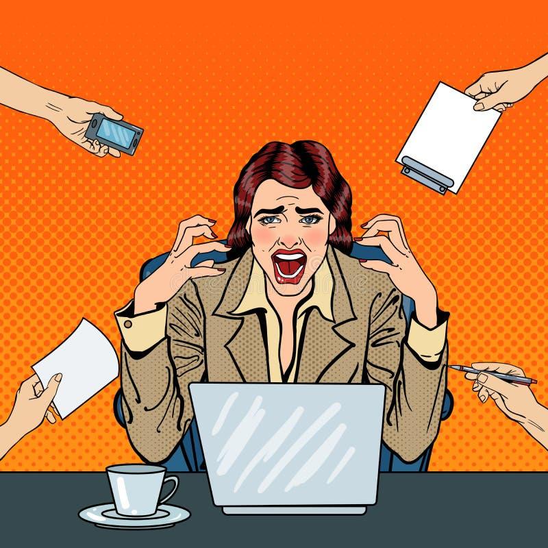 Pop Art Frustrated Stressed Business Woman die bij het Multi het Belasten Bureauwerk gillen vector illustratie