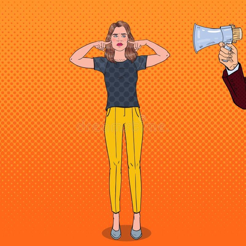 Pop Art Frustrated Woman Closed Ears met Vingers van Megafoon Het concept van de onwetendheid vector illustratie