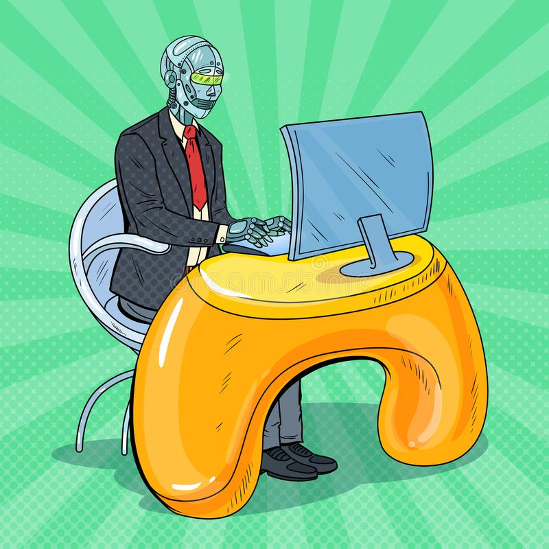 Pop Art Futuristic Robotic Man Working with Computer. Artificial Intelligence Technology. Robot Office Worker stock illustration